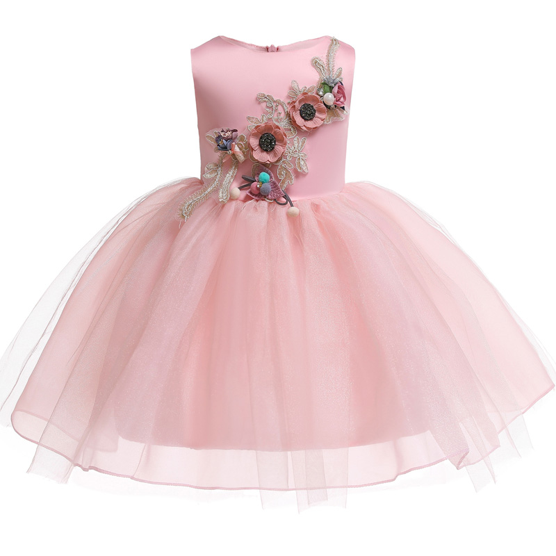 Flower Girl's Birthday Party Stage Performance Embroidery High-end Dresses Girl Graduation Banquet First Embroidered Dress