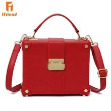 Ifriend Fashion Box Shape PU Leather Sohulder Bag Casual Buckle Handbag Women Messenger Crossbody Bag For Ladies Tote Bag