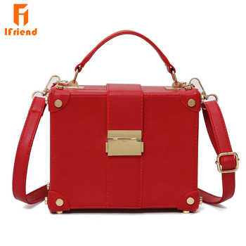 Ifriend Fashion Box Shape PU Leather Sohulder Bag Casual Buckle Handbag Women Messenger Crossbody Bag For Ladies Tote Bag - DISCOUNT ITEM  46% OFF All Category