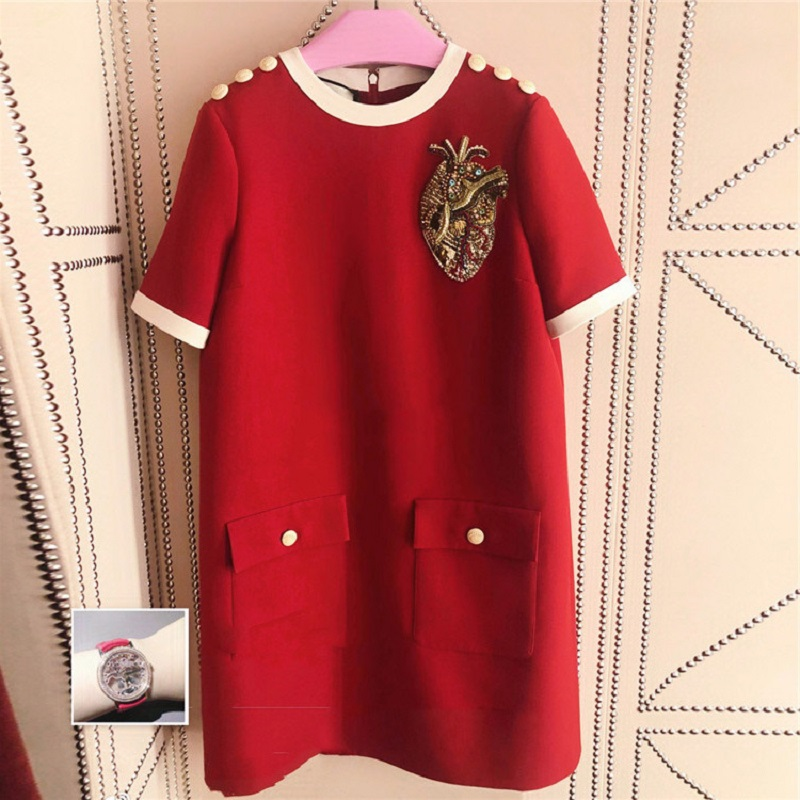 2019 Summer Beading Luxury Women Loose Dress New Red Casual Short Sleeve O neck Mini Dress Fashion Party Brand Designer Clothes