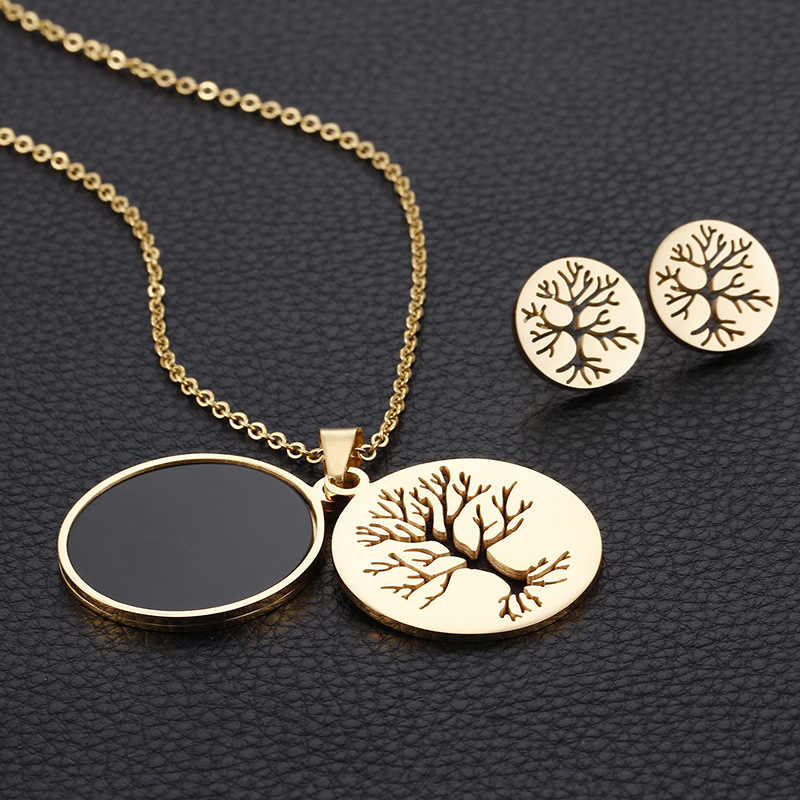 High Quality Tree of Life Necklaces Earrings Sets For Women Stainless Steel Jewelry Sets Christmas Gifts Bijoux