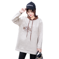 Letter Print Maternity Hoodies Autumn Winter Thicken Warm Velvet Sweatshirts Clothes for Pregnant Women Pregnancy Tops