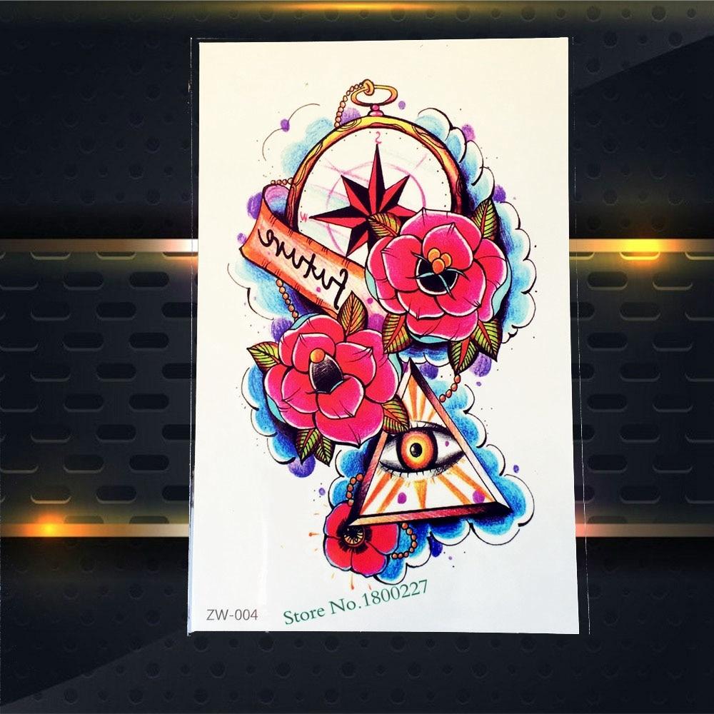 Sexy Body Art Flash Tattoo Sleeve PZW-004 Evil Eye Of God Compass Rose Design Waterproof Temporary Fake Tattoo Sticker Suppliers