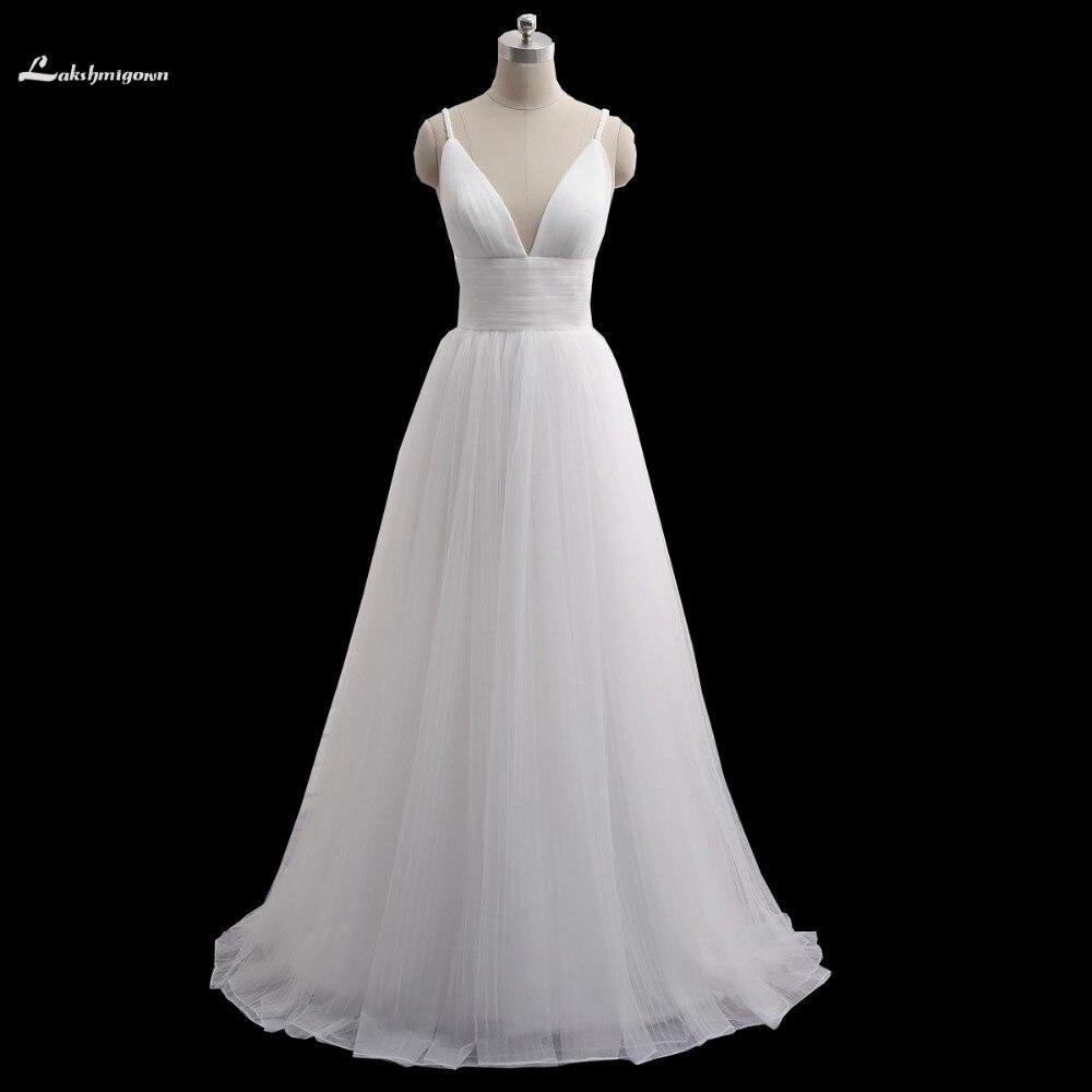 Sexy Beach Wedding Dress Speghetti Plunging Neckline Sexy Back Sweep Train Summer Honeymoon Dress 2016 Wedding
