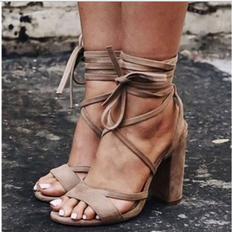 Fashion lace up high heels sandals women gladiator summer new ankle strap block heels open toe roma woman shoes 4 color big size changyuge 2018 new fashion sexy pumps women high heels open toe lace up heels sandals woman sandals thick with women shoes
