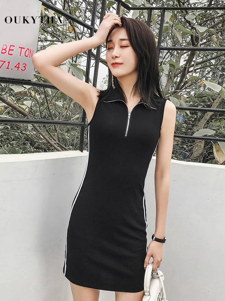 <font><b>Sexy</b></font> Mini <font><b>Black</b></font> Women <font><b>Dress</b></font> Turn-down Collar Tank <font><b>Dresses</b></font> Sheath Hip Package Sundress Strpied <font><b>Bodycon</b></font> Female <font><b>Summer</b></font> Clothes <font><b>2019</b></font> image