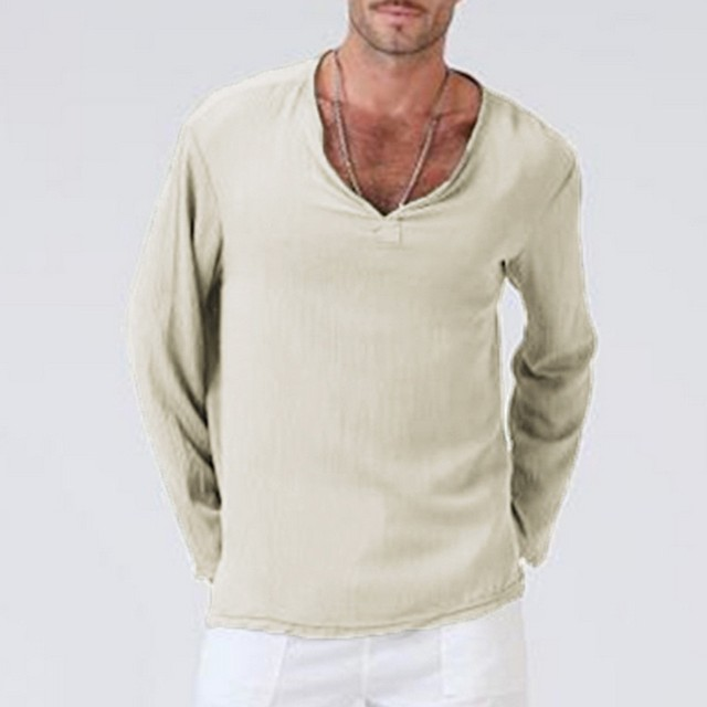 f0333f0923a Mens Summer Pure Color T Shirt Fashion Casual Cotton Linen Thai Hippie Long  Sleeve V-Neck Yoga T Shirts Male Fit Tops tee