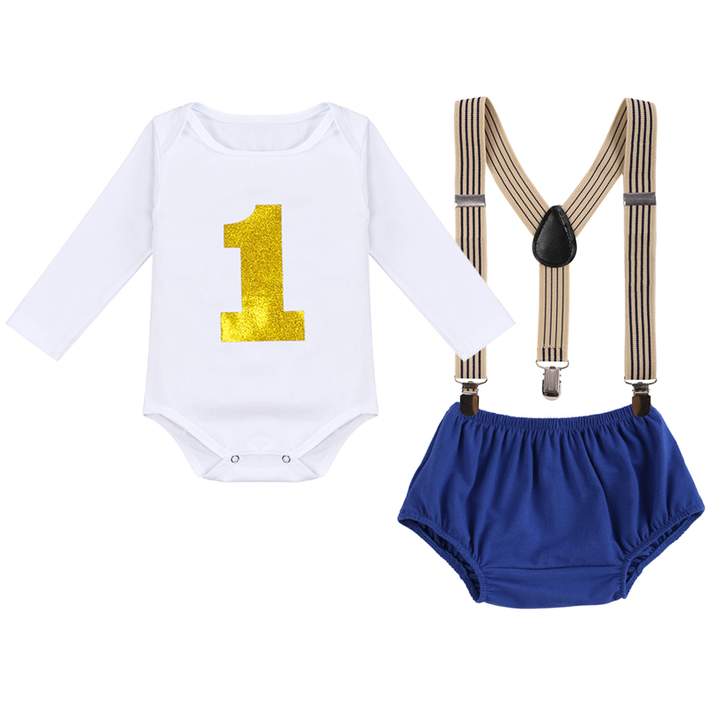 Birthday Party Clothes for Baby Cake Smash Outfit Cute Boy and Girls Clothes for Photography Props Baby Boy Suspender Outfit