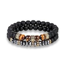 Men tiger eyes Bracelet Beaded Black Mantra Prayer Beads