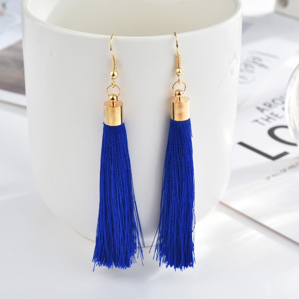 Black Crystal Flower Fringe Earings Earing Geometric Long Dangle Tassel Earrings For Women 2018 Fashion Jewelry Oorbellen Gift 4