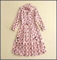 Высокое качество Новые Моды для Женщин 2017 Весна Натурального Шелка Dress Взлетно-Посадочной Полосы Европейской Дизайнер Старинные Лук Полный партия style dress