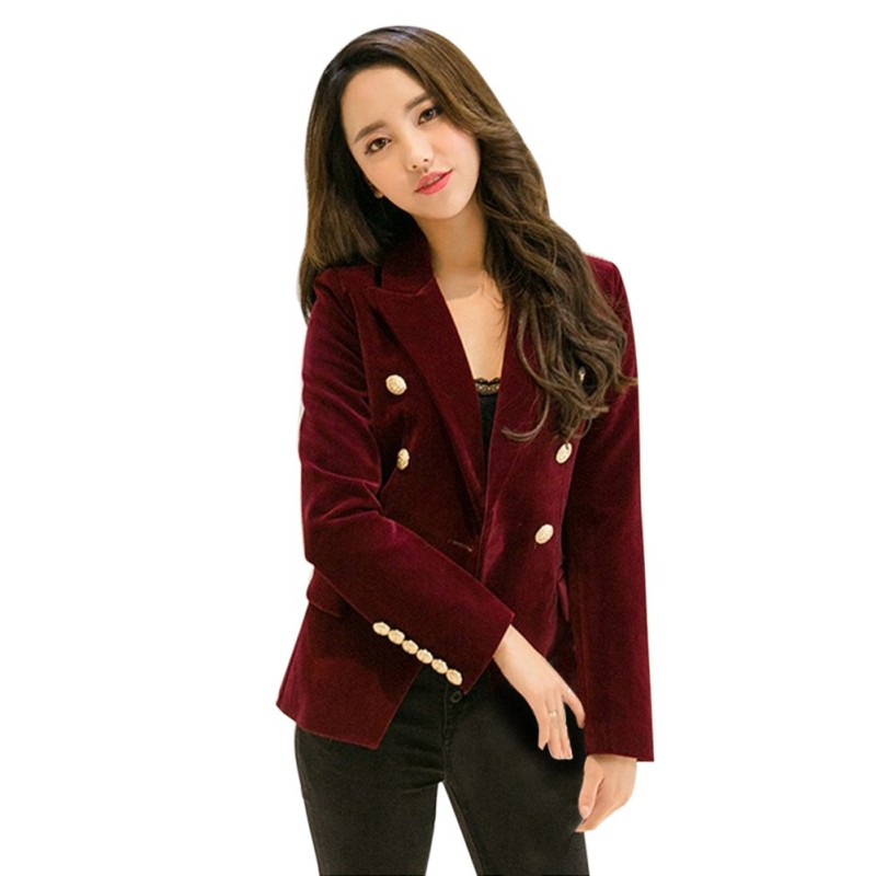 New Arrival Spring Autumn Women Blazer Gold Button Slim Long Sleeve Velvet Blazer Office Lady Work Office Small Suits Outwear