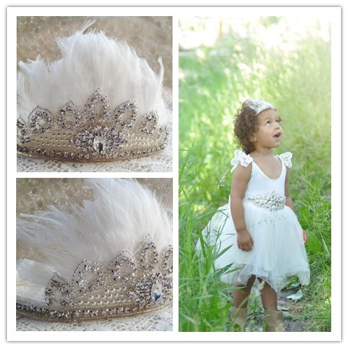 New Rhinestone Feather Crown Boho Headband Bohemian Headband Girls Feather Pixie Crown Headband Photo Prop Hair Accessories 1pc ...