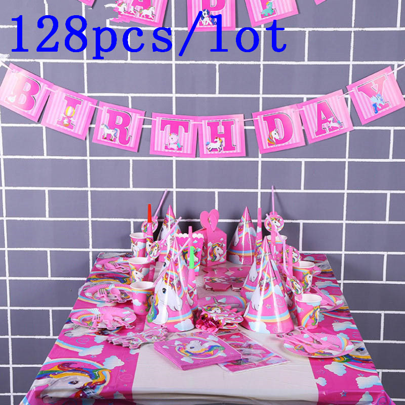 128 Pcs Unicorn Party Disposable Tableware Kids Party Supplies Set Paper Cup Plate Hat 1st First Birthday Party Decor Supplies