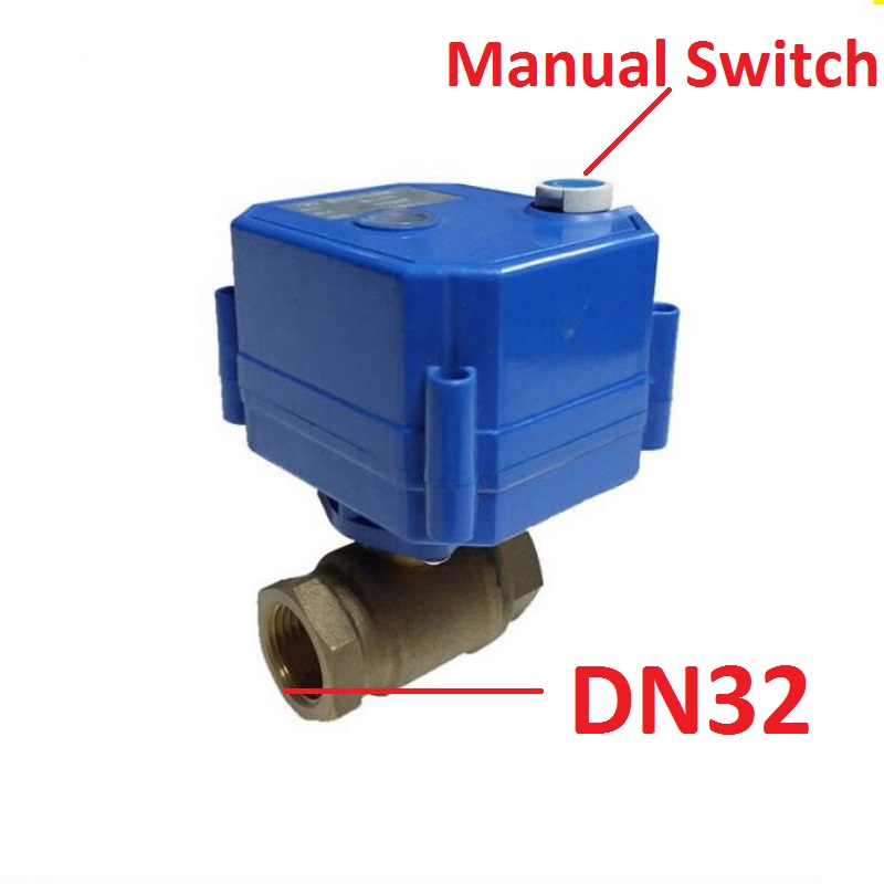 DN32 2 Way Brass MINI Electric Motorized Ball Valve With Manual Switch Override CR 01 CR