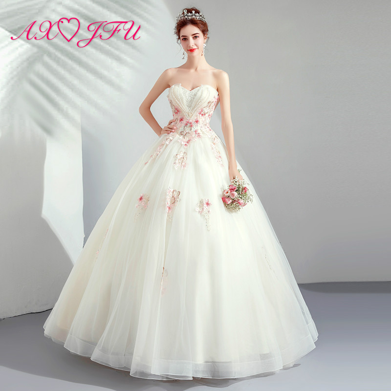Pink And White Wedding Gowns: AXJFU Princess Vintage Strapless Wedding Dress Luxury