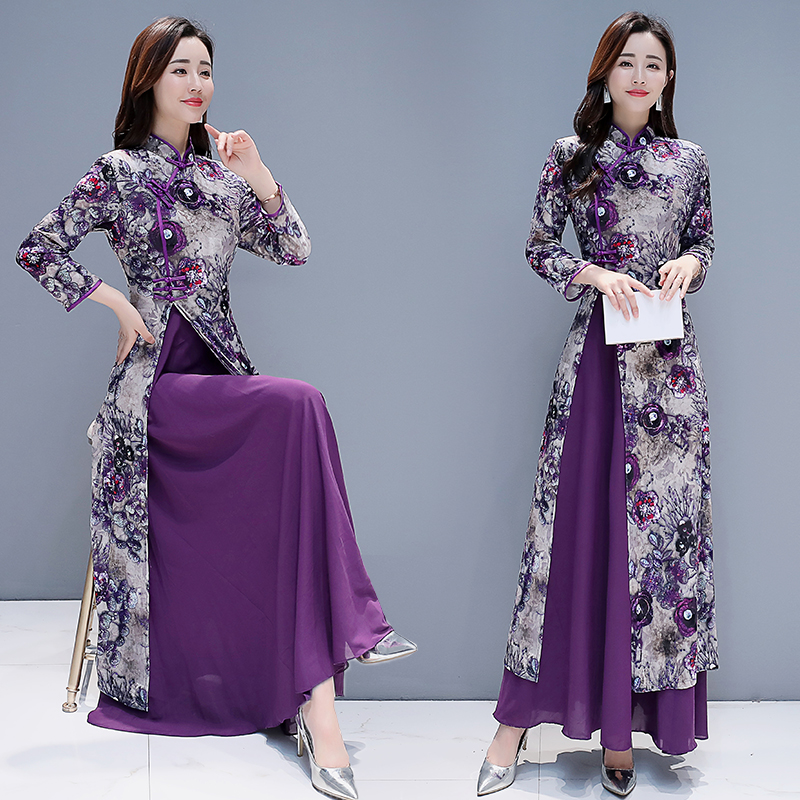 2020 Traditional Vietnam Ao Dai Chinese Dress Qipao For Women Flower Print Cheongsam Ethnic Style Costume Floral Aodai