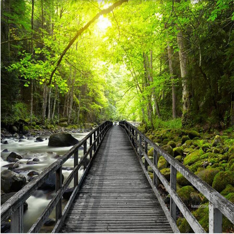 House Hd Wallpaper: 3d Large Wall Mural Wallpaper HD Beautiful Wooden Bridge