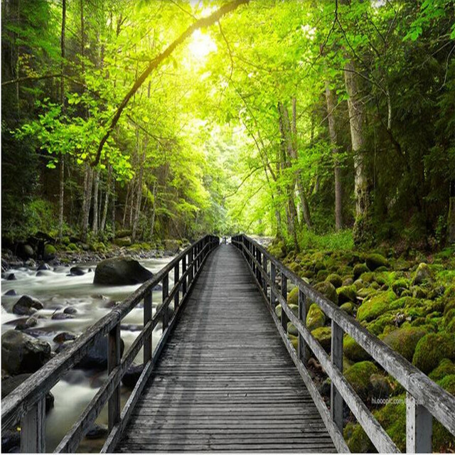3d large wall mural wallpaper hd beautiful wooden bridge creek forest landscape backdrop custom silk photo