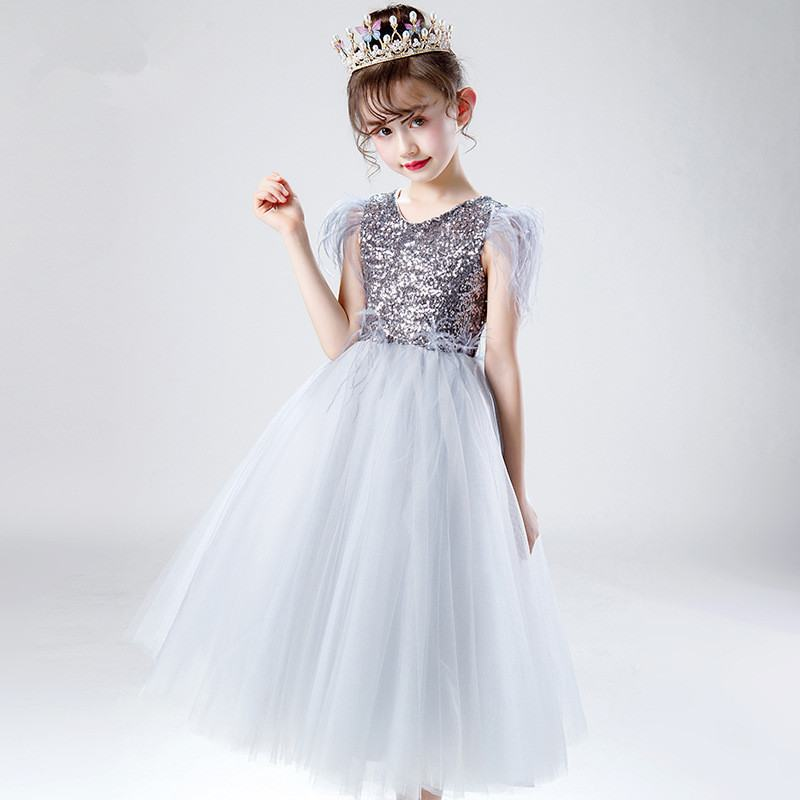23bb2f189 2019 Kids Girl Elegant Mesh Princess Dress Baby Girl Tassel Wedding Christmas  Party Dress Children First communion Ball Gown Q55