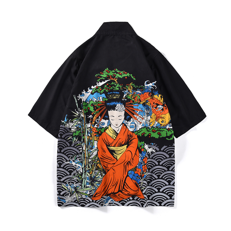 Japanese Style Men's Kimono Shirt Kimono Cardigan Chinese Pattern Hip-hop Loose Fit Polyester Man Tops 2019 New   Trench   Coat