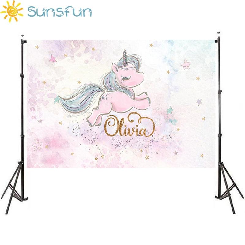 Sunsfun 7x5ft Acquerello Rosa Carino Unicorno Sfondo Stelle Per La