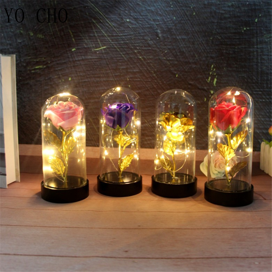 YO CHO Artificial Gold Rose Flower With Led Light Rose In Glass Cover Micro Landscape Home Wedding Decorate Valentine's Day Gift