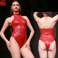 Женское сексуальное блестящее боди из ПВХ на молнии с открытой промежностью, боди с высоким вырезом, Цельный купальник с лямкой на шее, латексный матовый костюм, сексуальная клубная одежда F62