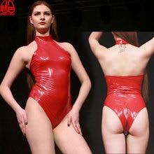 Plus Size Sexy PVC Shiny Zipper Open Crotch High Cut Bodysuit Halter One Piece Swimwear Latex Matt Catsuit Club Wear F62