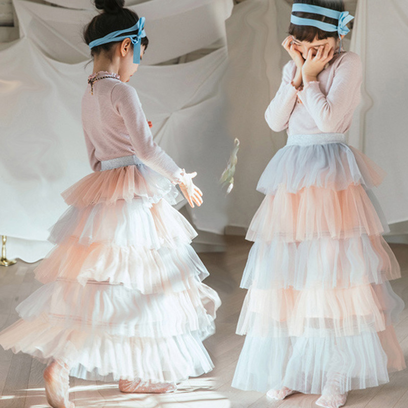 Girls Long Skirt  Baby Tulle Ball Gown Kids Beautiful Skirts Fashion Child Party Casual  Long Skirts In Spring Autumn Size 2-13TGirls Long Skirt  Baby Tulle Ball Gown Kids Beautiful Skirts Fashion Child Party Casual  Long Skirts In Spring Autumn Size 2-13T