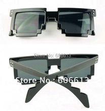 Fashion Pixelated 8-Bit Black Sunglasses CPU Gamer Geek Novelty Glasses, 12pcs/lot, Free shipping