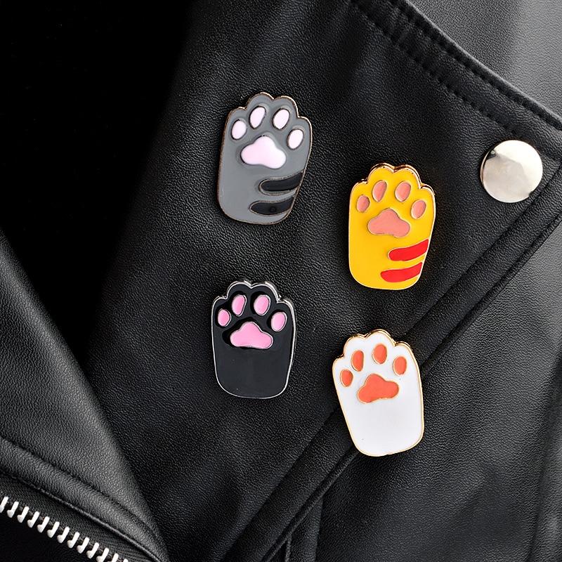 1 piece Cute Cartoon Grey black Orange white Cat Paw Brooch Collar Corsage Shirt bag cap Jacket Pin Badge Birthday gift(China)