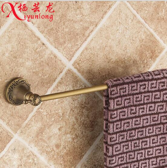 Bathroom accessories factory wholesale antique carved 100% copper single towel bar rack bathroom toilet hanging free shipping double banana plug test leads black red