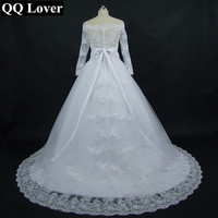 QQ Lover 2018 Boat Neck Detachable Sashes Vestido De Novia Custom made Plus Size Bridal Gown Wedding Dresses