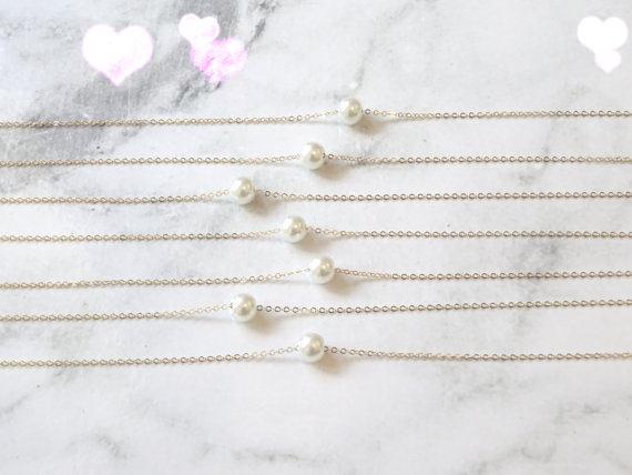 HTB1A1.VLVXXXXaDXVXXq6xXFXXXk - simple imitation pearl necklace gold pearl necklace bridesmaid filled, single floating white / ivory necklace