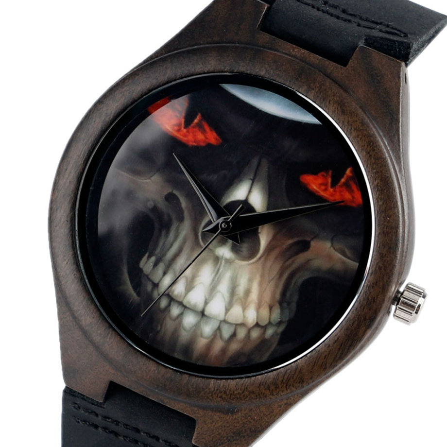 creative cool skull wooden wrist watch mens halloween gift leather strap quartz movement watches wholesale clock in quartz watches from watches on