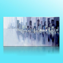 Modern Wall Paintings Hand Painted Abstract Cityscape  Rivers Scenery Landscape Canvas Oil Painting For Home Decor