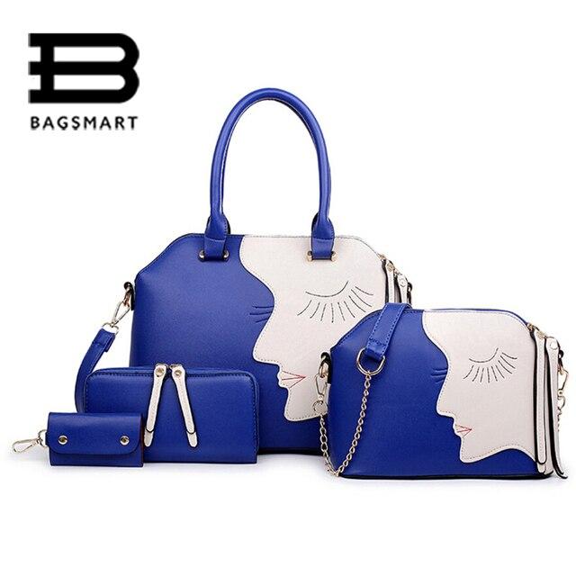 BAGSMART 4 Pcs Luxury Women Composite Bag Women Messenger Bags Ladies Purse Leather China Handbags Women Bag Wallet Card Hlod