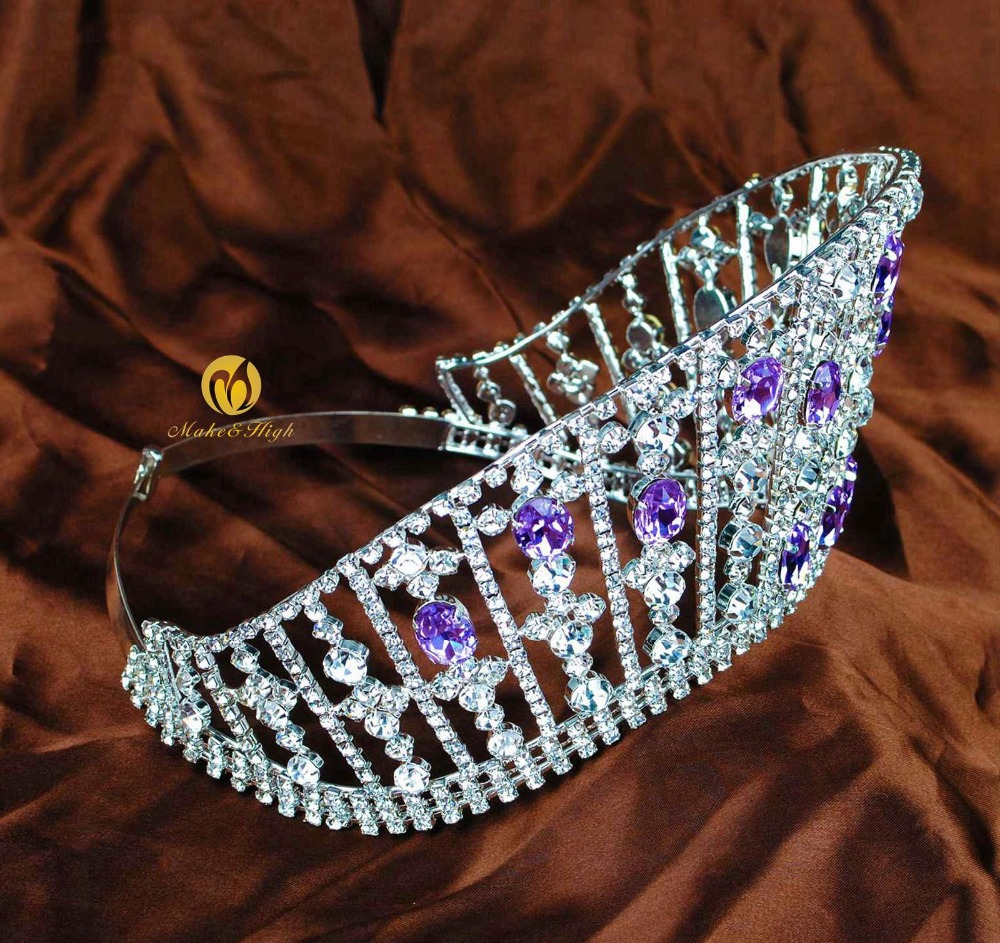 Lavender Miss Beauty Pageant Tiara Crown Austrian Rhinestones Crystal  Wedding Brides Hair Accessories Prom Parade Party -in Hair Jewelry from  Jewelry ... 74a2e8d6bde1