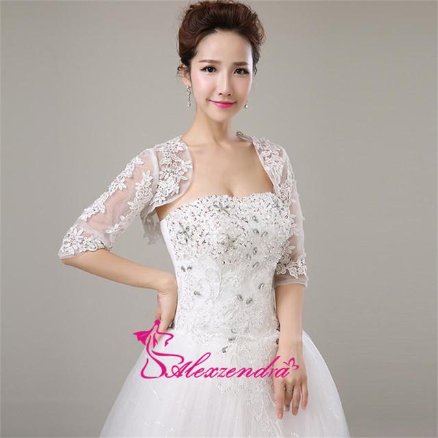 Alexzendra Half Sleeves Wedding Jacket Lace Bridal Bolero