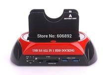 Envío Libre 876U3c USB3.0 SATA HDD Docking Station + Lector USB HUB 3.0 con la clonación Functiong All-in-1Card