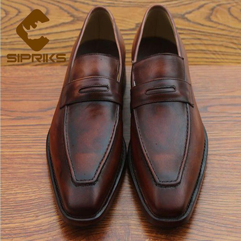 Sipriks Luxury Mens Penny Loafers Mens Goodyear Welted Loafers Vintage Italian Brown Designer Loafers Mens Topsiders Loafers полироль пластика goodyear атлантическая свежесть матовый аэрозоль 400 мл
