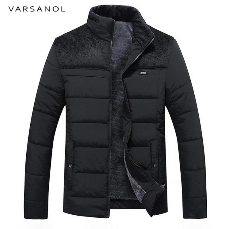 Varsanol новые зимние Для мужчин; теплая куртка на молнии с длинными рукавами Тонкий jacekts Для мужчин Костюмы стенд Куртка с воротником модная ве...