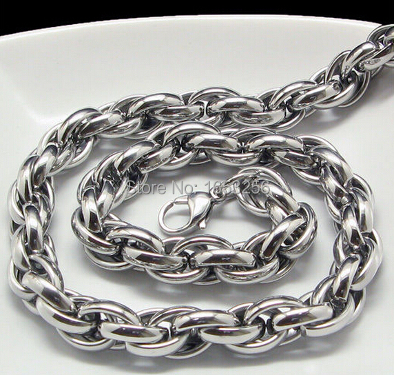 6e5f016dae5fe US $9.99  24 inch 8.5mm Width Silver Tone 316L Stainless Steel handmade  Oval Rope Chain Link Necklaces Men Charming Holiday Jewelry-in Chain  Necklaces ...