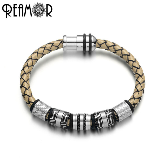 REAMOR pulsera trenzada de cuero genuino para hombre, brazalete de acero inoxidable, Color negro, Vintage, gris