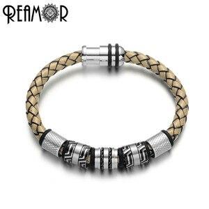 Image 1 - Мужской винтажный браслет REAMOR, серый плетеный браслет из натуральной кожи черного цвета, браслеты манжеты из нержавеющей стали, мужские украшения в подарок