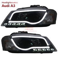 SONAR Brand Headlights for Audi A3 Led strip bar light 2008 to 2012 year low beam with bi xenon projector lens Black Housing