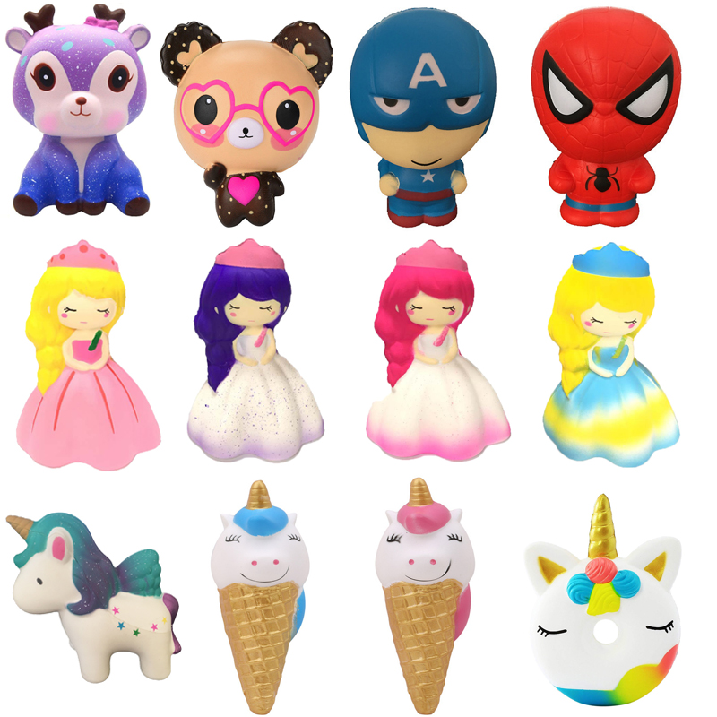 Ingenious Soft Squishy Slow Rising Unicorn Bear Icecream Deer Princess Squeeze Toys Cream Scented Relieves Stress Gags Joke Toy Kids Gift To Make One Feel At Ease And Energetic