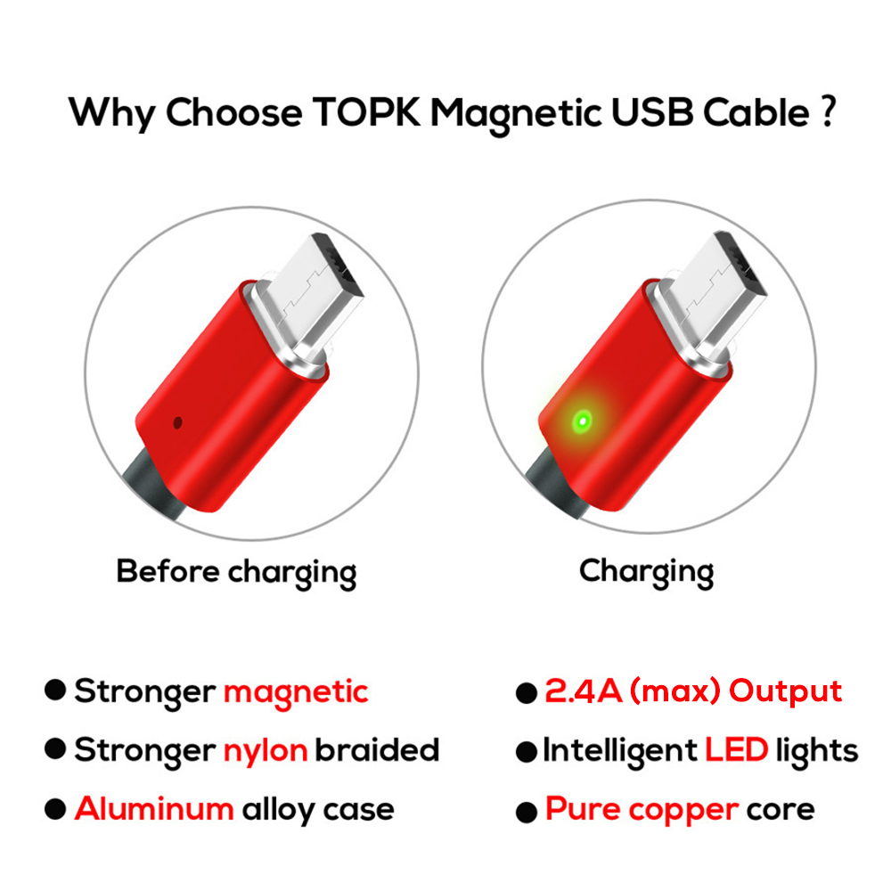 Image 4 - TOPK AM21 Magnetic Cable Nylon Braided Micro USB Cable Data Sync Magnet Charger Cable For Xiaomi Redmi 4X Samsung S7 Microusb-in Mobile Phone Cables from Cellphones & Telecommunications