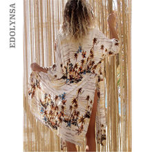 Summer Women Beach Wear Swimsuit Cover Up Plus Size Tropical Print Side Split Kimono Plage Robe Wrap Dress Sex Cotton Tunic Q491